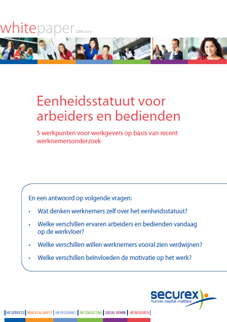 5 HR Research Bijdrage notoriëteit en bekendheid Securex groep White papers www.securex.