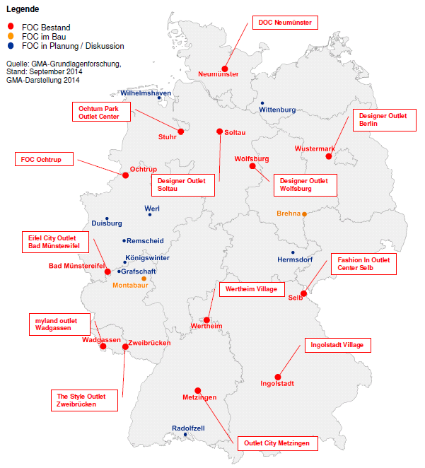 Figuur 3.4 Factory outlet centers in Duitsland (2014). Bron: Gesellschaft für Markt- und Absatzforschung mbh, Factory Outlwet Center in Deutschland und Österreich (september 2014). 3.3 FOC s in Nederland Sinds 2001 zijn er FOC s in Nederland.