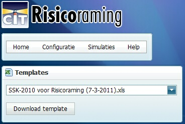 16 2.2 Risicoraming Stap 2: Template downloaden Excel template downloaden ØSelecteer Simulaties > Template(s) en klik op Download template. ØEr zijn meerdere versie beschikbaar.
