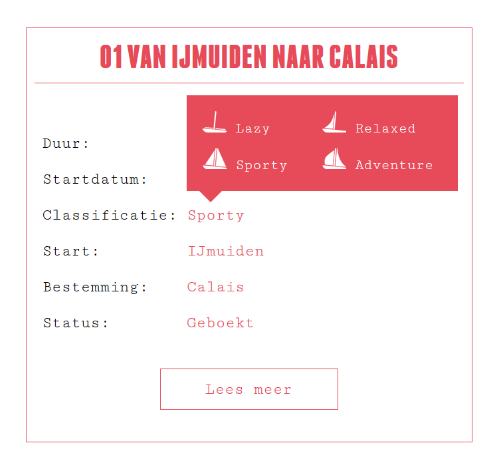 Pittig zeilen of juist niet: Lazy, Relaxed, Sporty, Adventure.