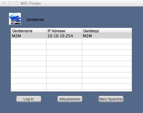 "8.3.1 MAC WIFI FINDER Dubbeklik op de koppeling ""WiFi Finder"" om de toepassing te starten."