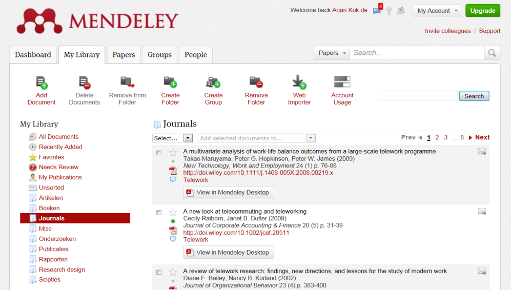 Using software: Mendeley (Free) Library