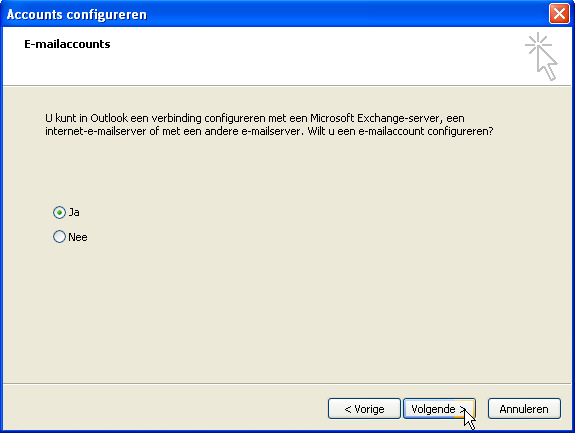 3.1.2 Nieuwe installatie Outlook 2003 Stap 1: Start outlook en de
