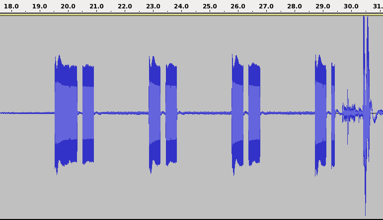 Figure 2: UK cadence at the beginning of the conversation in file a1-3 country frequency on off on off The Netherlands (NL) 425Hz 1 4 1 4 United Kingdom (UK) 400Hz 0.4 0.2 0.