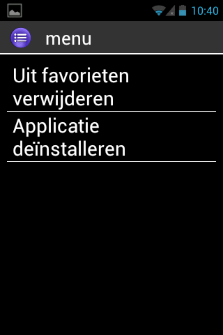 "Maak een favoriet aan Bijvoorbeeld, voeg de ""Calculator"" toe aan ""Favorieten"". 1. Selecteer ""Applicaties"" op het home scherm. 2. Scroll doorheen de lijst tot de ""Calculator"" applicatie is aangeduid."