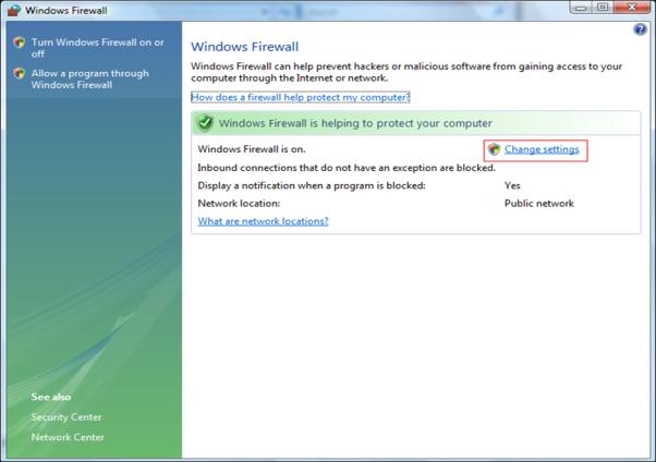 2. Kies de firewall van Windows [Windows Firewall] 3.