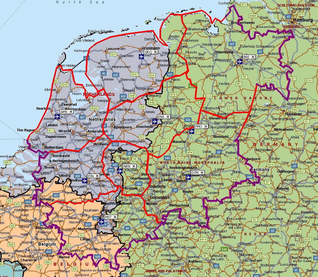 catchment area analysis are Amsterdam, Bremen, Dortmund (given its breadth of LCC airline customers), Eindhoven, Groningen, Maastricht, and Weeze.