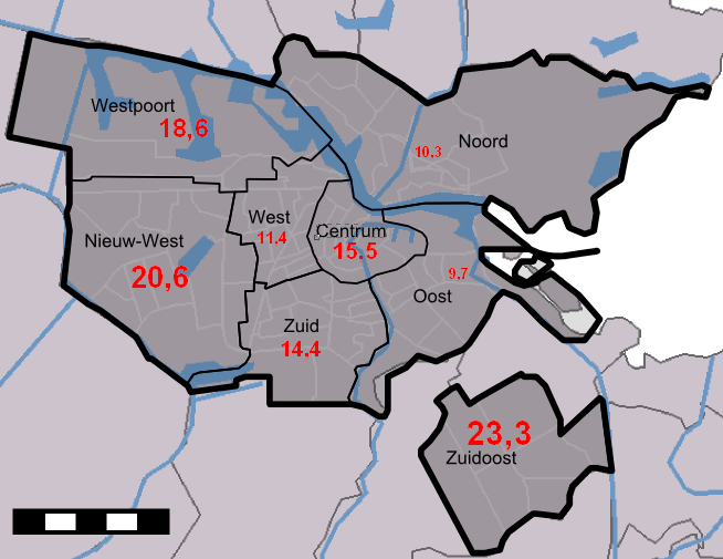 Figuur 4.3: Totale leegstand Amsterdam anno 2011, in % (O+S Amsterdam, 2013; Wikipedia, 2013).