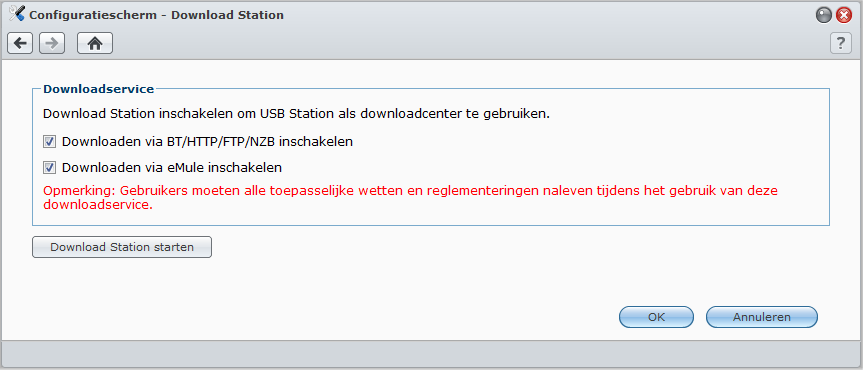 Download Station inschakelen Ga naar Hoofdmenu > Configuratiescherm > Audio Station om Audio Station in te schakelen.