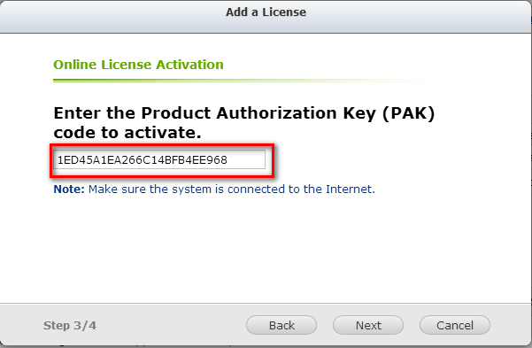 Stap2. Vul de Product Authorization Key (PAK) code in om de licentie te activeren. Stap3.