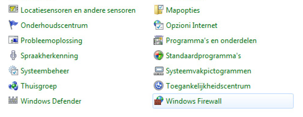 parameters instellen: In het menu Start/Configuratiescherm 1 - Windows Firewall aanklikken.