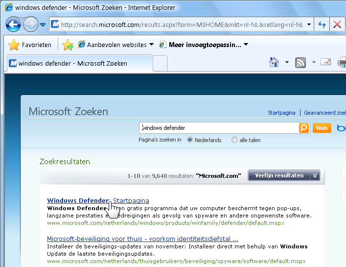 8 Windows Defender Windows Defender downloaden en installeren Windows Defender is een programma van Microsoft dat deel uitmaakt van Windows Vista en Windows 7.