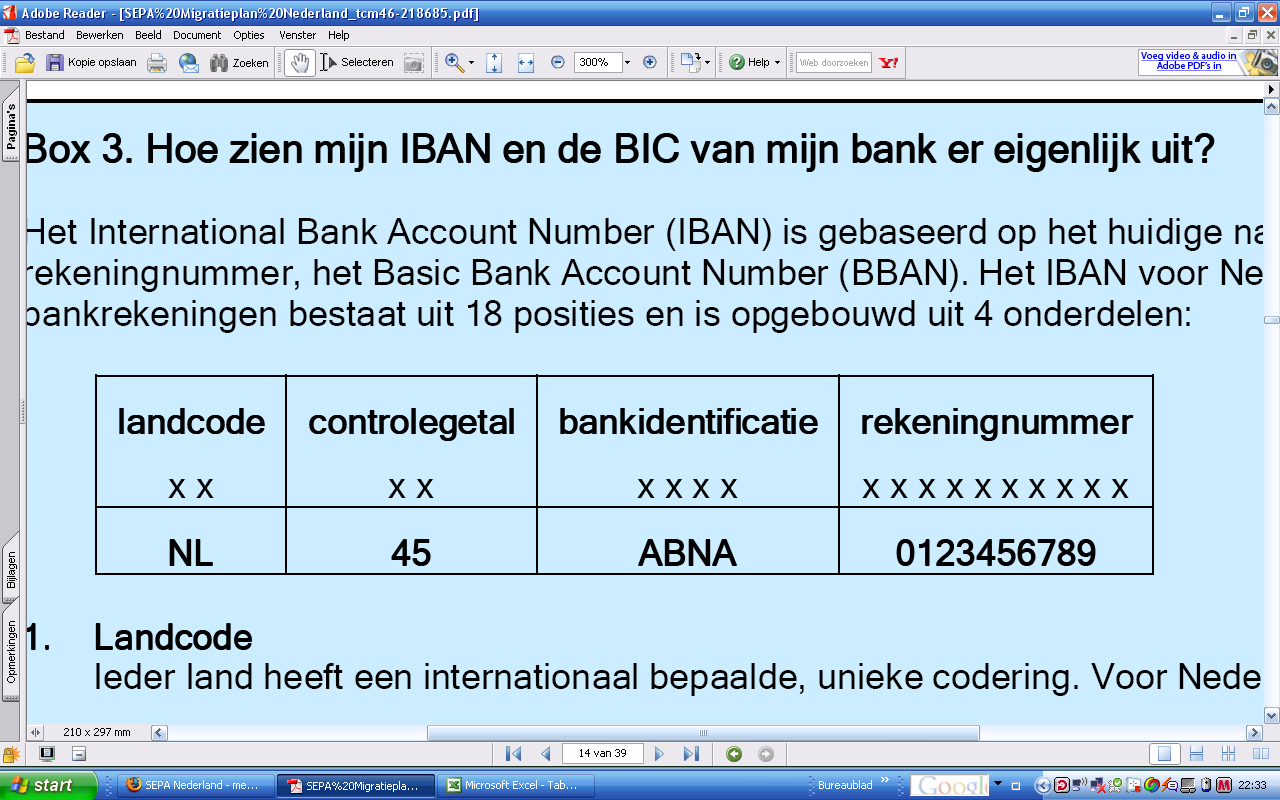 1.3 Aanlevering (BIC/IBAN) Bank