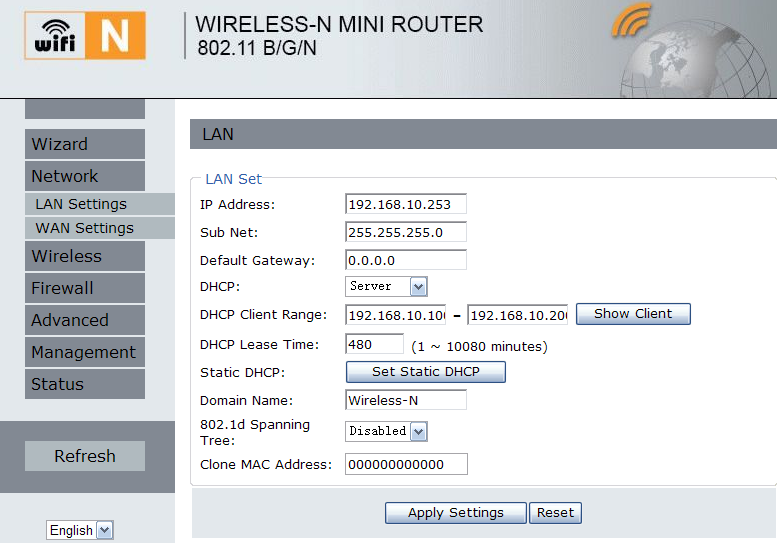 LAN INSTELLINGEN Klik op Network LAN Settings in de web management interface.