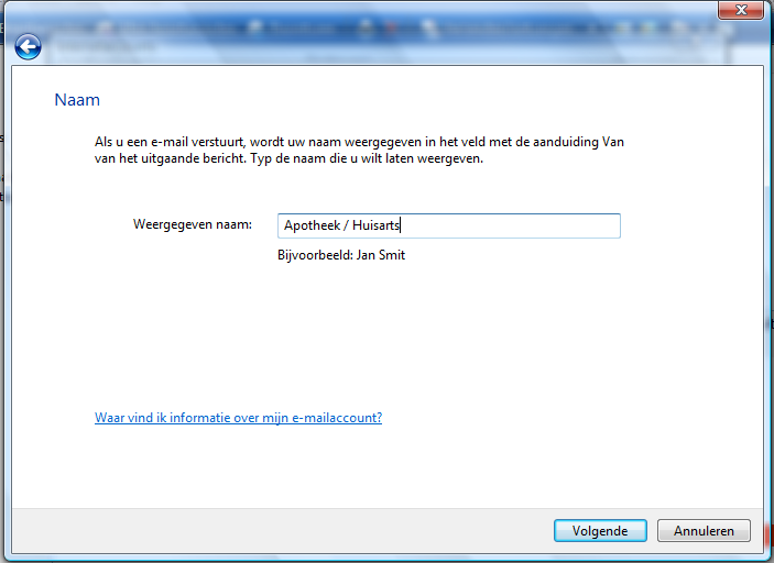 Windows Mail Start Windows Mail Klik op Extra Klik op Accounts Klik op toevoegen, selecteer E-mail en klik op volgende.