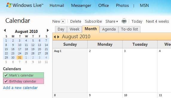 3. Importeer het rooster in Windows Live Hotmail 3.1 Toevoegen rooster aan Calendar in Windows Live Hotmail 1.