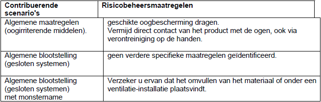 Details in extended deel SDS: ES (vb Shell) risico beheersings maatregelen (Risk Management