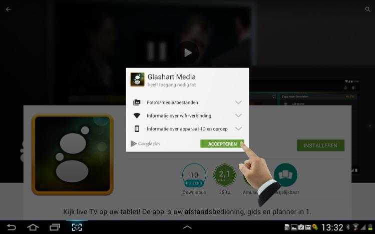 com/store/apps) Open de Google Play Store, voer de zoekterm Glashart Media in.
