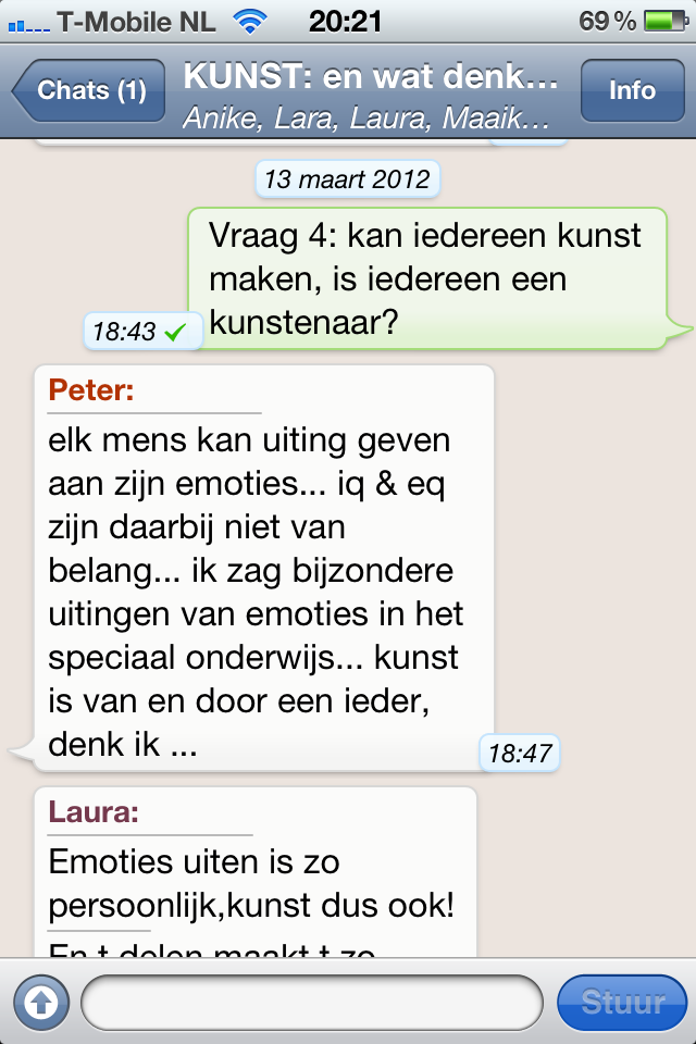 Fragment uit de kunstdiscussie via Whatsapp