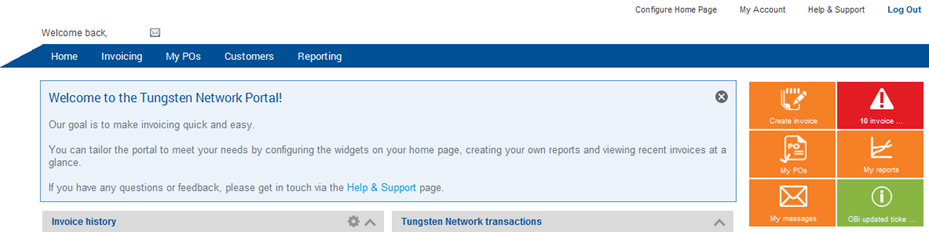 Manage my Tungsten Network Portal account EN To manage your Tungsten
