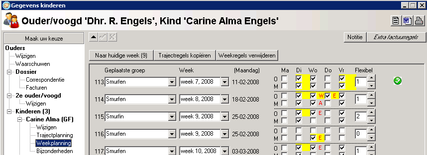 4. Weekplanning in The Nanny Kindplanning De planningsgegevens die u in de The Nanny Groeps Login/app ziet (afhankelijk van de instelling Traject of weekplanning gebruiken ), is de weekplanning die