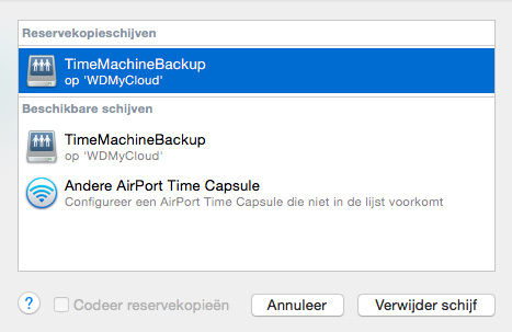BACK-UPS EN HERSTEL VAN BESTANDEN Klik op Set Up Time Machine om de pagina Time Machine weer te geven: 3.