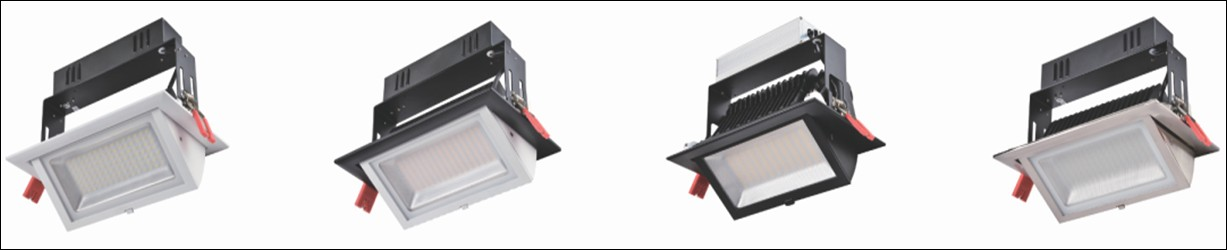 LED Rectangular Adjustable Downlight series Afwerking : Gespoten Wit Graden Hoek: 35 / 60 AC100 ~ 240V 3 jaar Model / Art.nr.