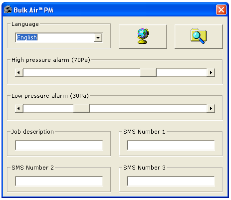 Figuur 14 - Bulk Air PM Settings Editor Application De Windows programma zal automatisch de Bulk Air PM vorige instellingen, die vervolgens eenvoudig kunnen worden aangepast laden: - Taal - Maakt de