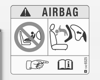 Stoelen, veiligheidssystemen 57 EN: NEVER use a rear-facing child restraint system on a seat protected by an ACTIVE AIRBAG in front of it, DEATH or SERIOUS INJURY to the CHILD can occur.