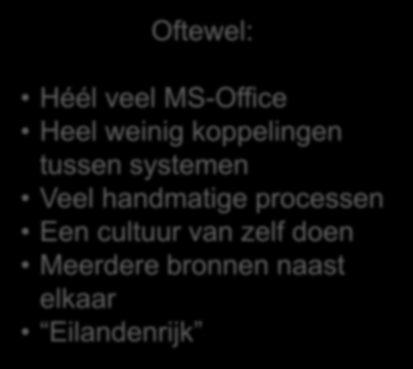 Bestaande situatie Office toepassing Applicatie FCB Handmatig Applicatie Overig Processen en Applicaties per Organisatieeenheden FCB VHIJG HR&C&F HHNK Excel Treasury beheer Access Subsidie beheer