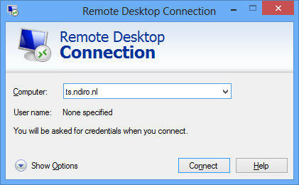 2.2 Connect using the standard Windows Remote Desktop Connection application. Press the Windows key and type remote desktop.