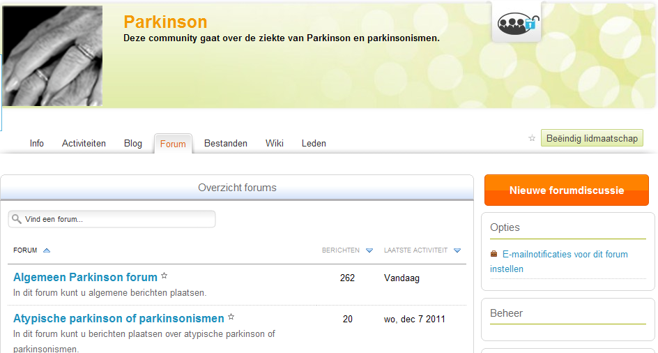 De community Parkinson is er voor u!