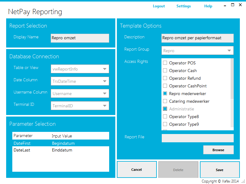 3.2.0 Modify Report Template Rapportsjabloon aanpassen Modify Report Template: onder deze optie kunnen bestaande rapportsjablonen worden gewijzigd of verwijderd.