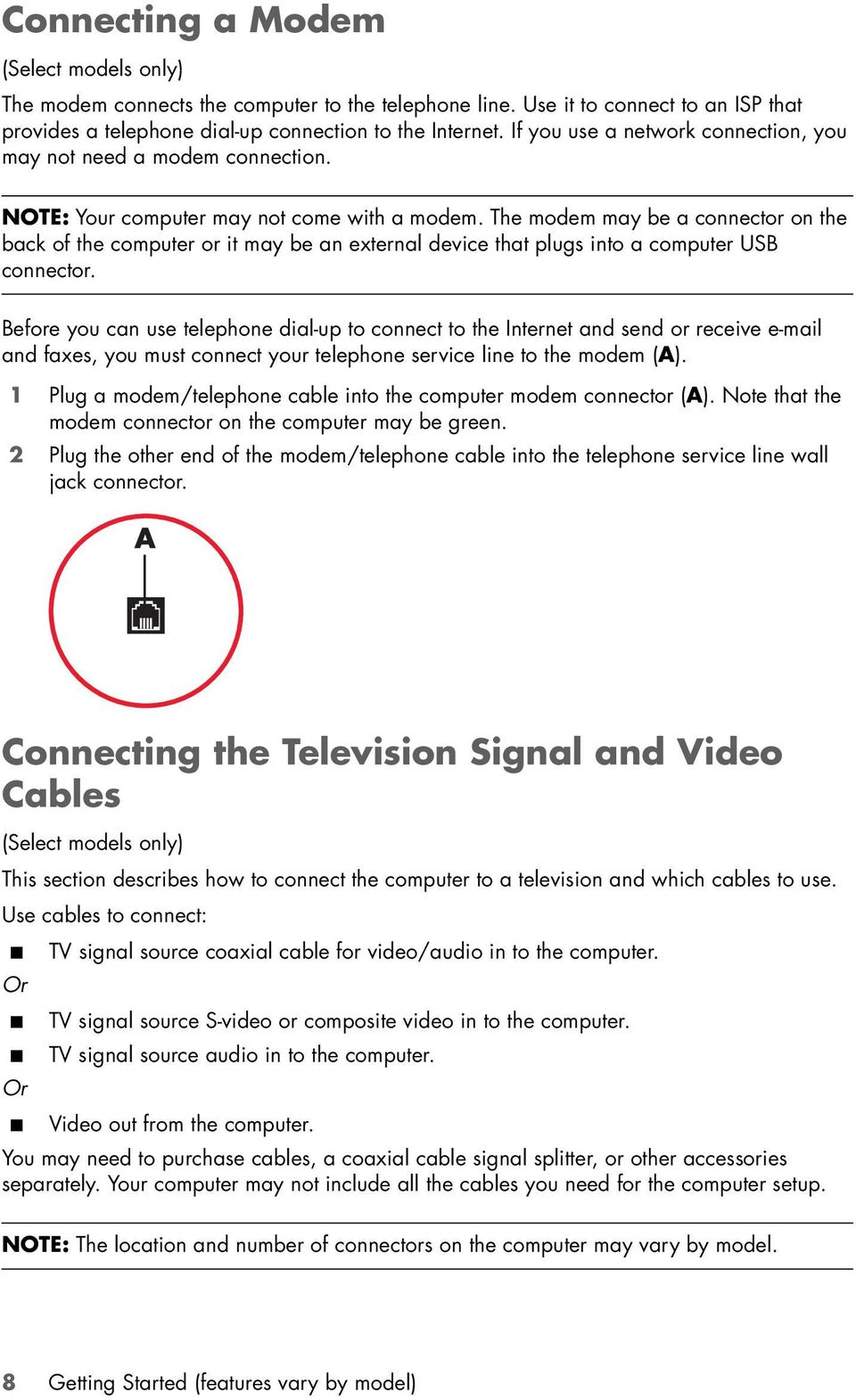 The modem may be a connector on the back of the computer or it may be an external device that plugs into a computer USB connector.
