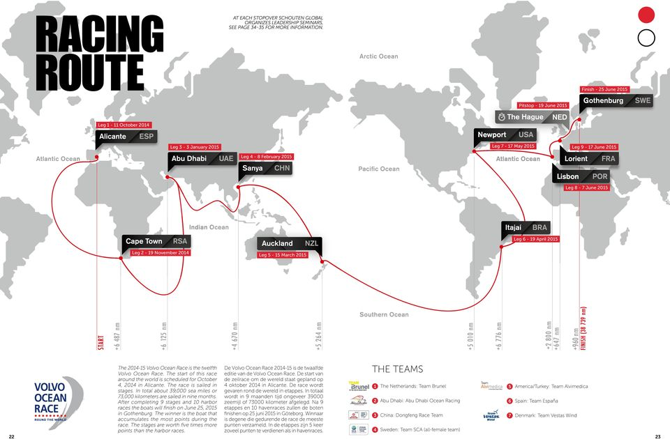 November 2014 Leg 5-15 March 2015 22 The 2014-15 Volvo Ocean Race is the twelfth Volvo Ocean Race. The start of this race around the world is scheduled for October 4, 2014 in Alicante.