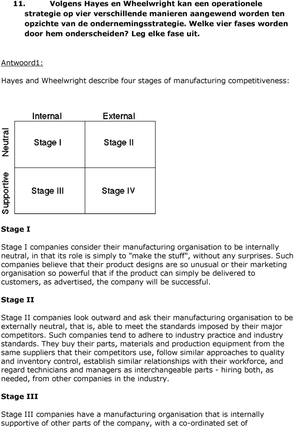 Antwoord1: Hayes and Wheelwright describe four stages of manufacturing competitiveness: Stage I Stage I companies consider their manufacturing organisation to be internally neutral, in that its role