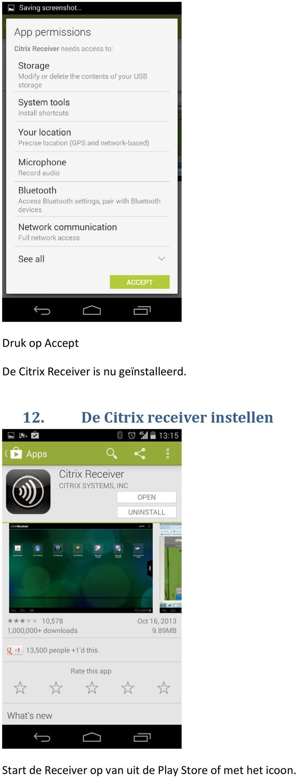 De Citrix receiver instellen Start