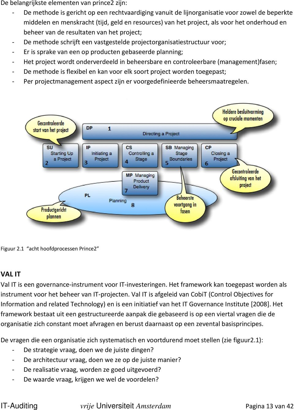 planning; Het project wordt onderverdeeld in beheersbare en controleerbare (management)fasen; De methode is flexibel en kan voor elk soort project worden toegepast; Per projectmanagement aspect zijn