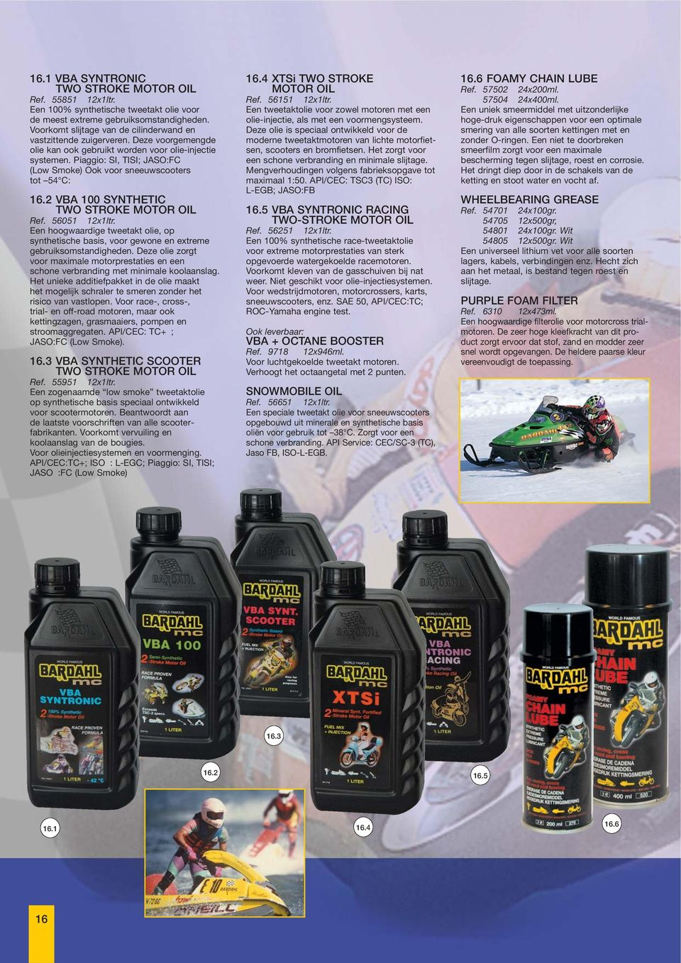 Piaggio: SI, TISI; JASO:FC (Low Smoke) Ook voor sneeuwscooters tot 54 C: 16.2 VBA 100 SYNTHETIC TWO STROKE MOTOR OIL Ref. 56051 12x1ltr.