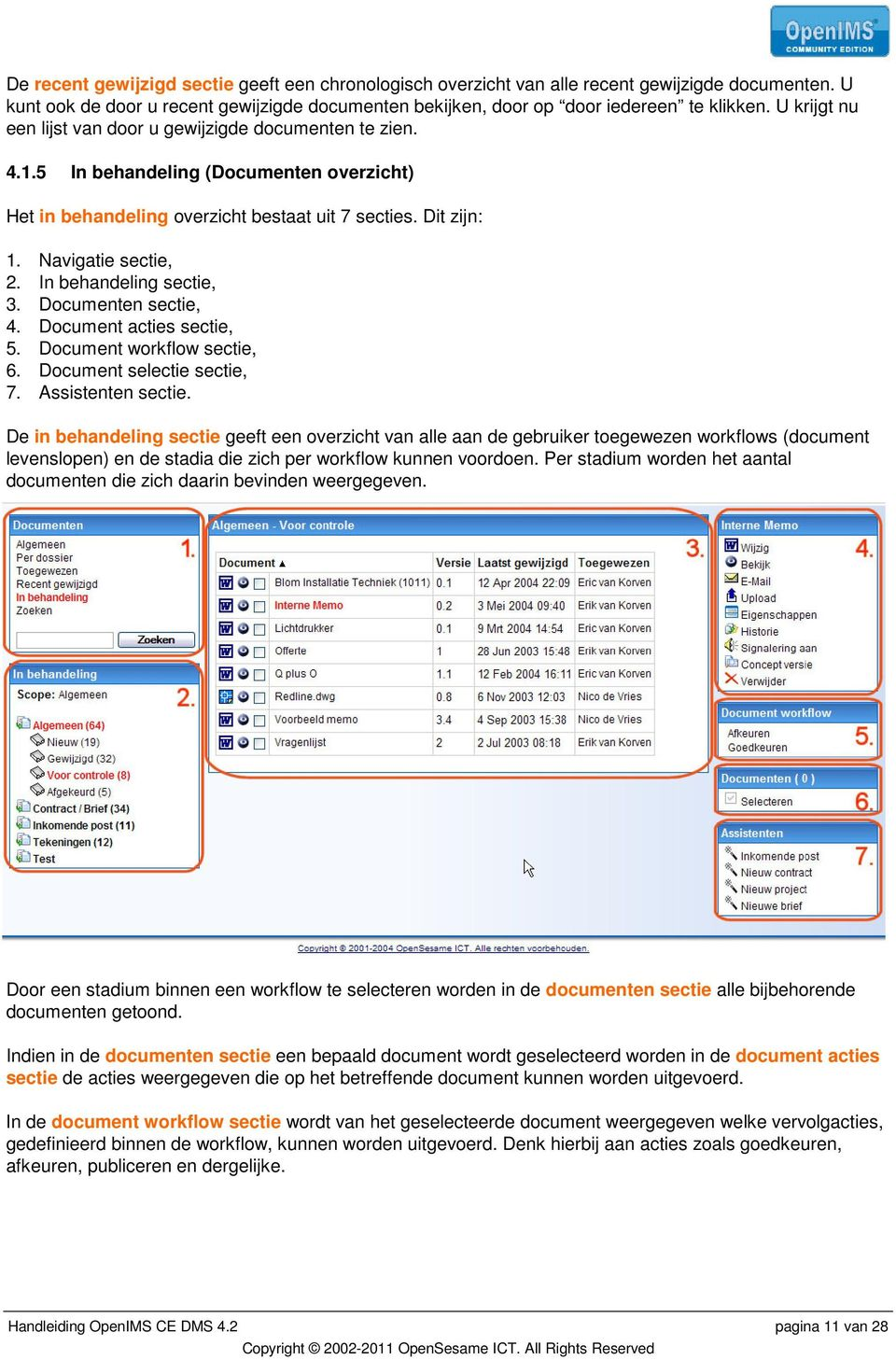 In behandeling sectie, 3. Documenten sectie, 4. Document acties sectie, 5. Document workflow sectie, 6. Document selectie sectie, 7. Assistenten sectie.