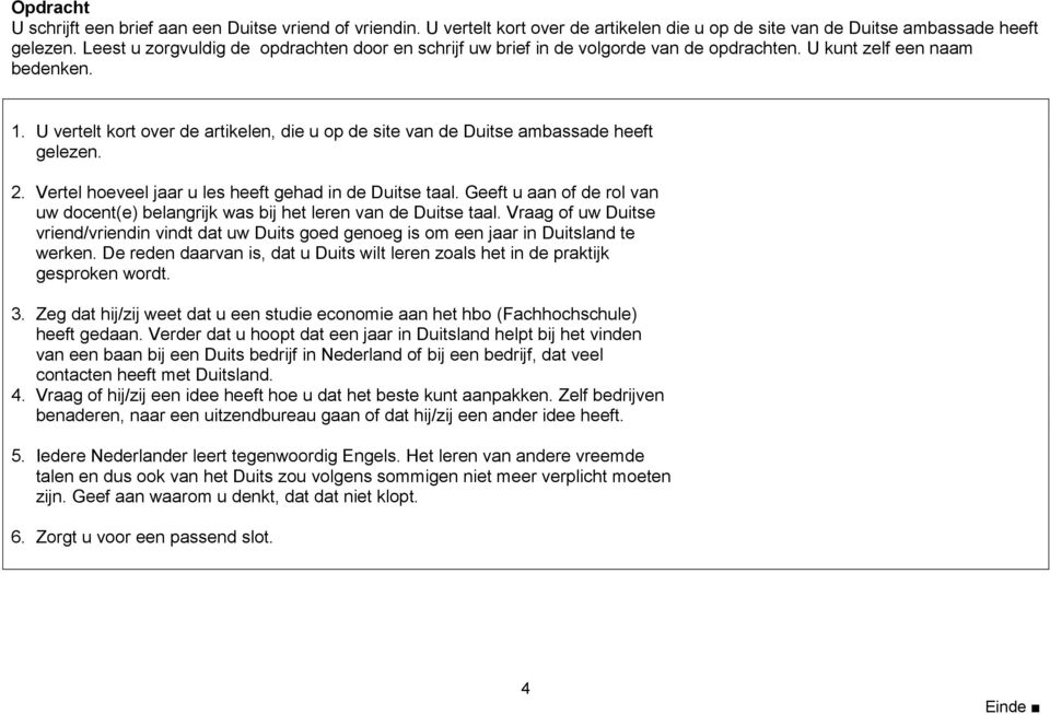 engelse brief opdracht