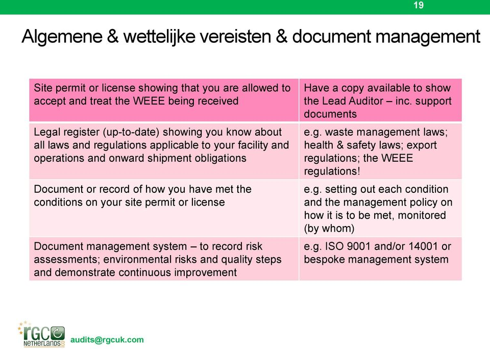 management system to record risk assessments; environmental risks and quality steps and demonstrate continuous improvement Have a copy available to show the Lead Auditor inc. support documents e.g. waste management laws; health & safety laws; export regulations; the WEEE regulations!