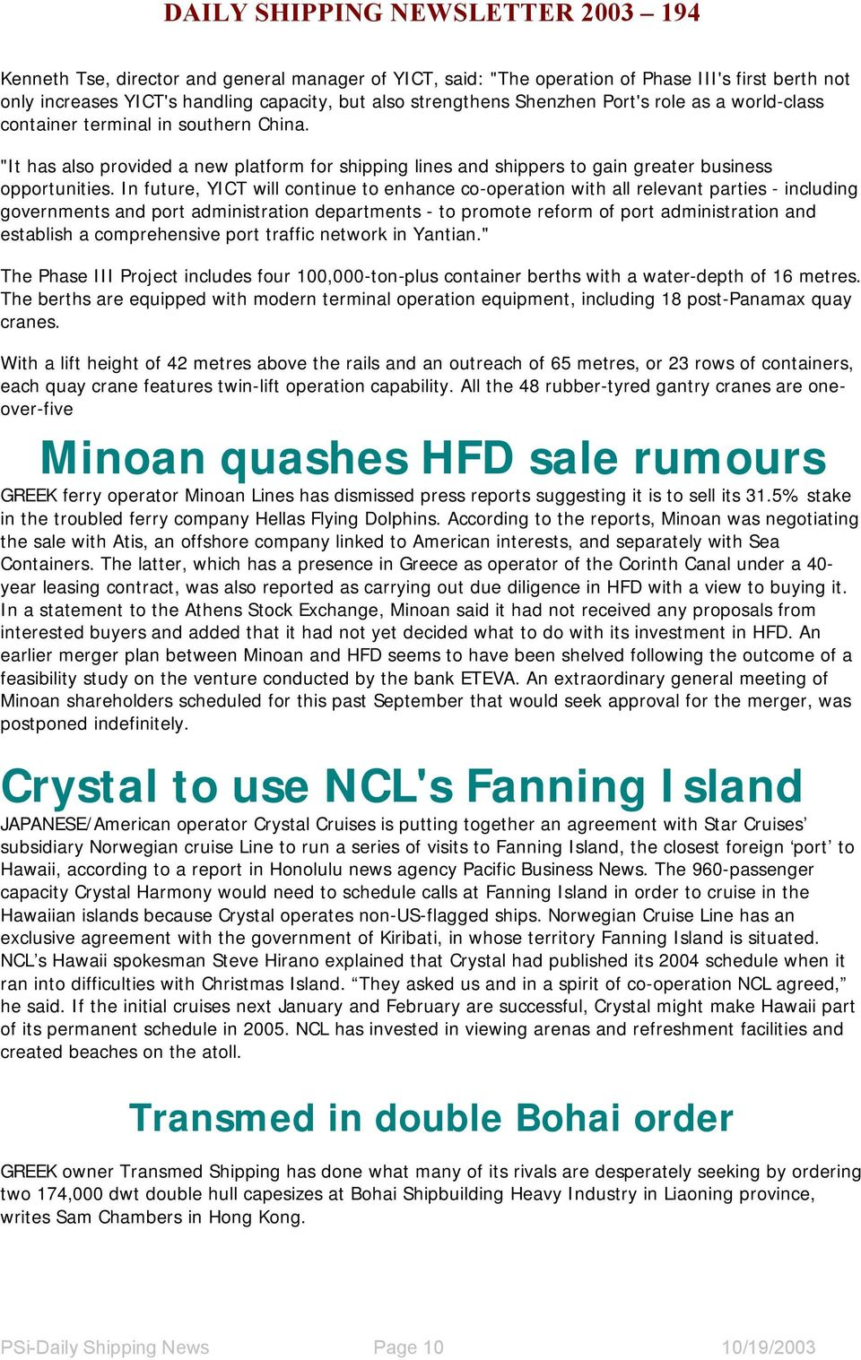 Daily shipping newsletter pdf in future yict will continue to enhance co operation with all relevant parties fandeluxe Image collections