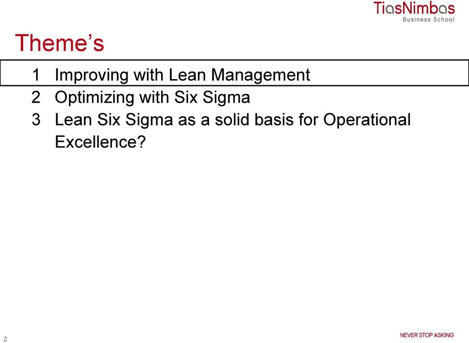 Sigma 3 Lean Six Sigma as a