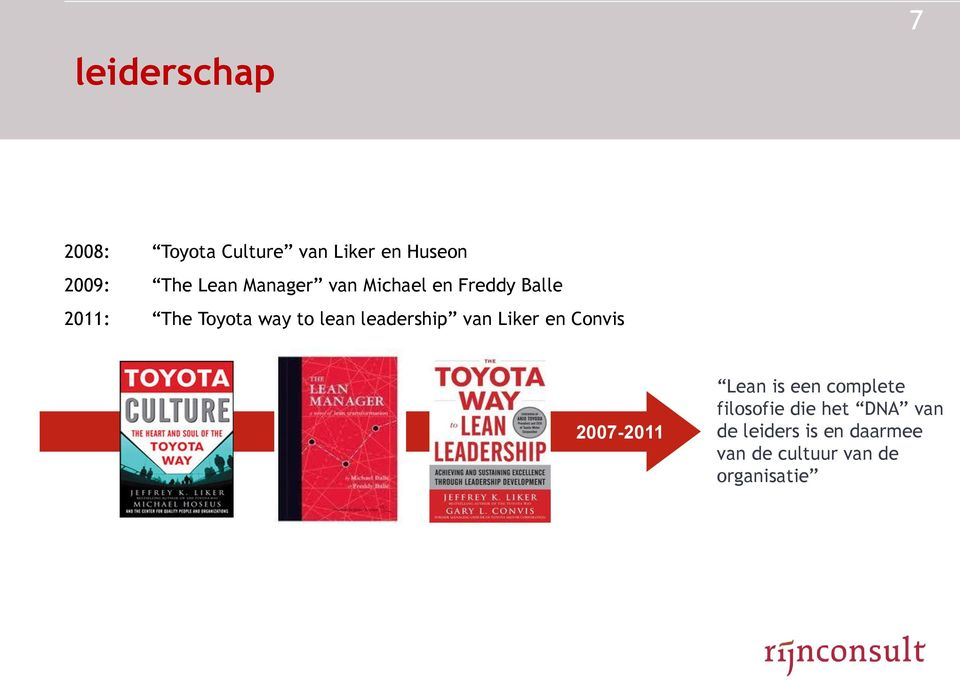 leadership van Liker en Convis 2007-2011 Lean is een complete