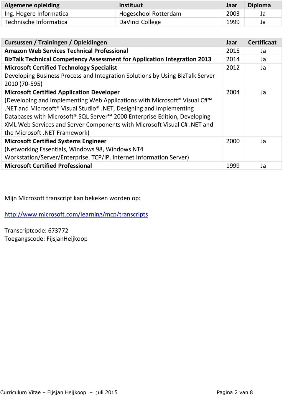 BizTalk Technical Competency Assessment for Application Integration 2013 2014 Ja Microsoft Certified Technology Specialist 2012 Ja Developing Business Process and Integration Solutions by Using