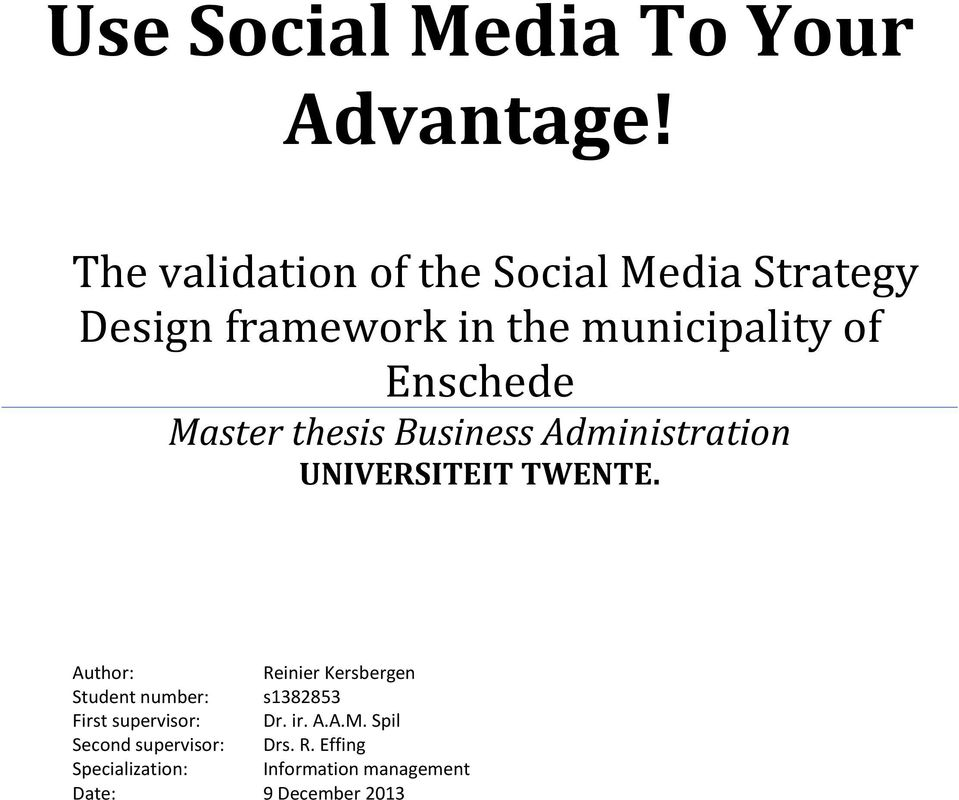 Master thesis Business Administration UNIVERSITEIT TWENTE.