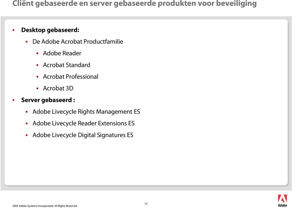 Acrobat Professional Acrobat 3D Server gebaseerd : Adobe Livecycle Rights