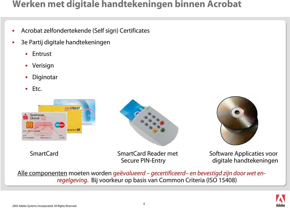 SmartCard SmartCard Reader met Secure PIN-Entry Software Applicaties voor digitale handtekeningen Alle