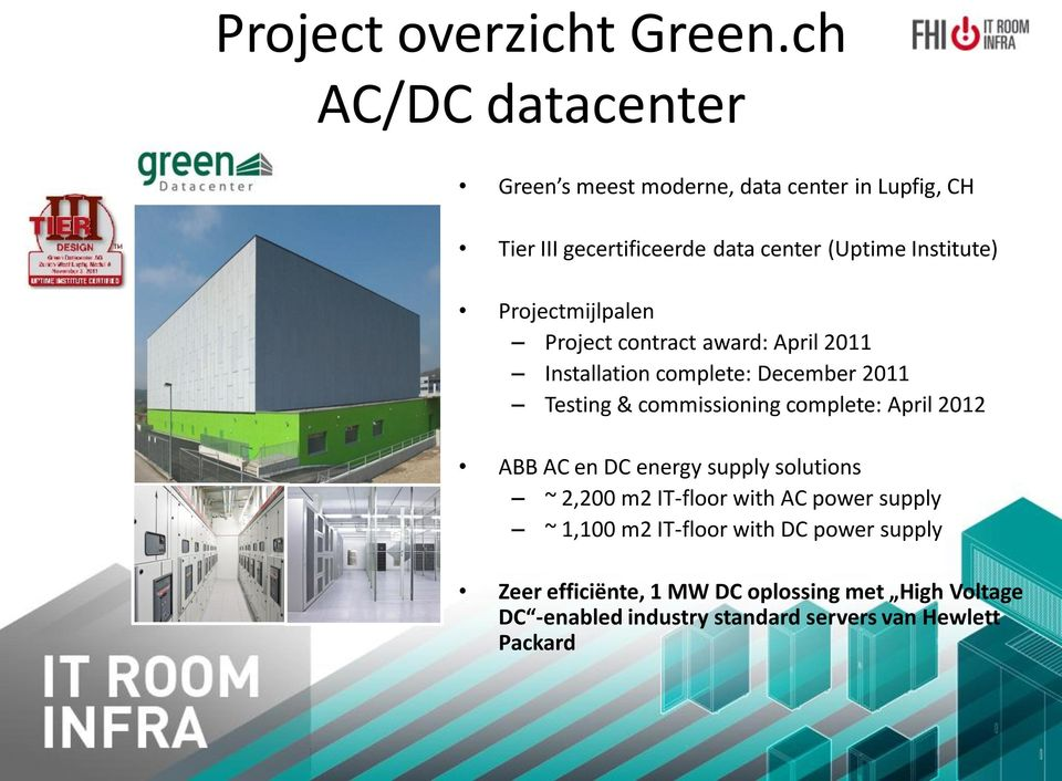Projectmijlpalen Project contract award: April 2011 Installation complete: December 2011 Testing & commissioning complete: